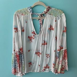 Lucky Brand Tie-Neck Bell-Sleeve Peasant Top